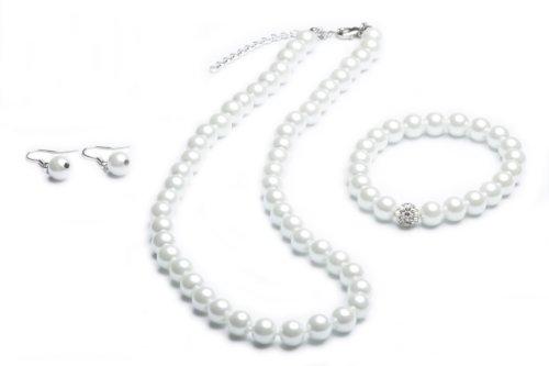 Perlenkette geknotet - Perlenarmband - Perlenohrringe - Set Weiss
