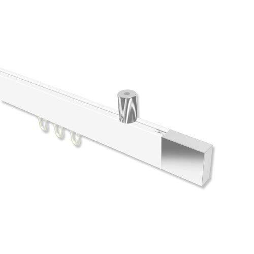 INTERDECO Innenlauf Gardinenstange (Deckenbefestigung) eckige Innenlaufstange Weiß/Chrom Sonius Lox, 240 cm