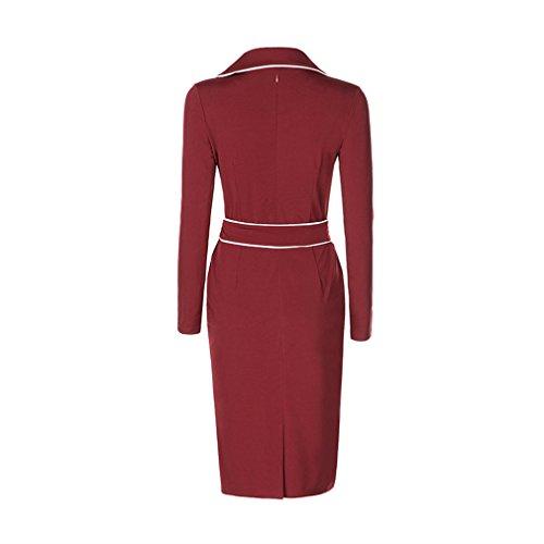 Lukis Damen Etuikleid Frühling Kleid Lang Ärmel Slim Casual Rot