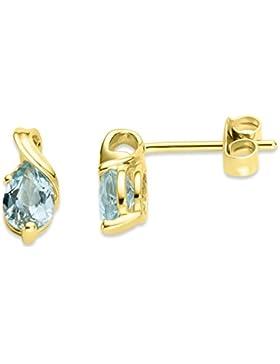 Miore Damen-Ohrstecker 375 Gelbgold Topas blau Tropfenschliff