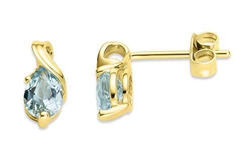 Miore-Orecchini in oro bianco 375  rodiato zaffiro blu a goccia Filo, oro giallo, colore: giallo