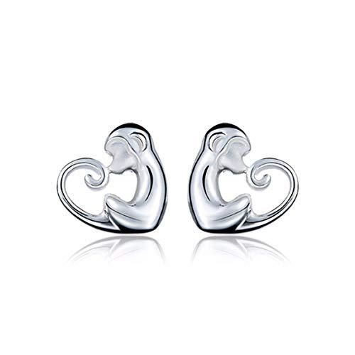 MTWTM Sterling Silber Ohrringe Mode Accessoires AFFE Ohrstecker Premium Schöne Damen Ohrringe