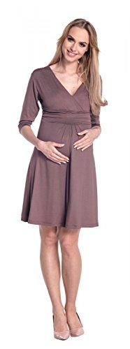 Happy Mama. Femme maternité midi robe patineuse de grossesse. Manches 3/4. 282Ap Cappuccino