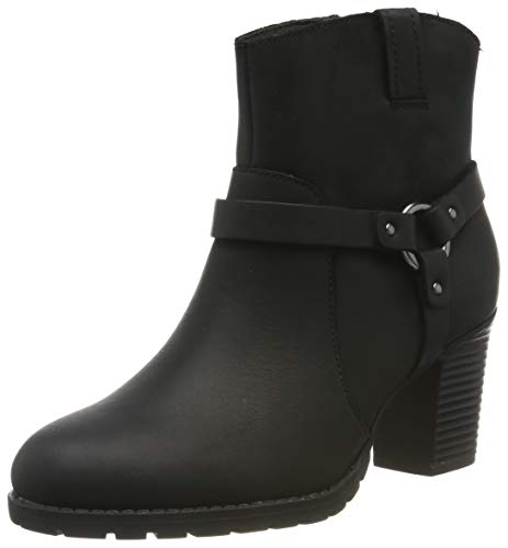 Clarks Verona Rock, Botas Plisadas para Mujer, Negro Black Leather Black Leather, 39 EU