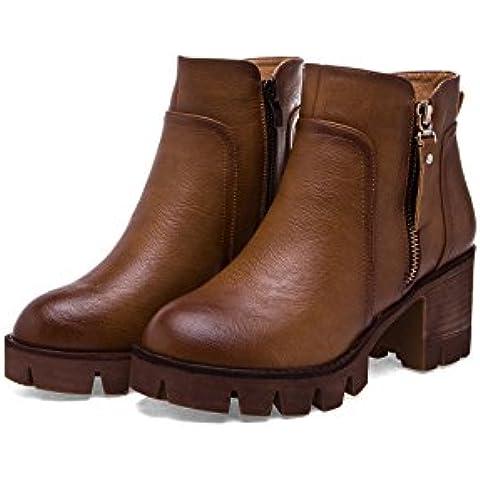 Botas de gruesas botas mujer para otoño e invierno y la cabeza de Europa en que Martin botas desnuda botas con , brown ,
