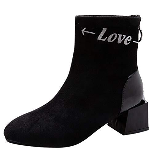 FATESHOP Show_Damenschuhe Damen Stiefeletten Chelsea Boots mit Blockabsatz Profilsohle Plateau Vorne