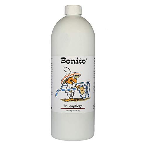 Bonito Brillenpflege 1 Liter | Brillenpflege mit Schutz | für alle Brillengläser | Antistatikum | verhindert Spannungsrisse | Geeignet für Sonnenbrillen, Taucherbrillen, Schutzbrillen etc.