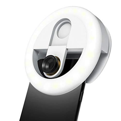 QINJLI Handy-Fülllicht, Live-Make-up-Nachtaufnahme-Led-Selbstauslöserlampe Mit DREI Geschwindigkeiten Für Dunklere Umgebungen Wie Bars/KTV/Restaurants/Cafés (Farbe : Weiß)