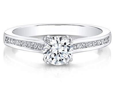 Forever Diamond 14K Solid White Gold-Ringe für Frauen (alle verfügbaren Größen) 0.60 ct. Rundschnitt Echte Solitaire-Diamanten-Verlobungsringe Hallbred-Ringe