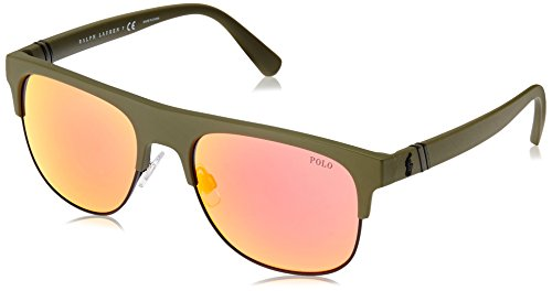 Polo Ralph Lauren Herren 0Ph4132 52166Q 55 Sonnenbrille, Grün (Matteive/Orange),