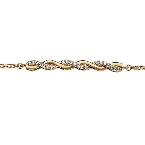So chic gioielli© bracciale lunghezza regolabile: 16a 18cm treccia ossido di zirconio bianco placcato oro 750