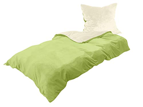 Cashmere Touch Wendebettwäsche - 100% Mikrofaser - Set inklusive Kissenbezug & Bettbezug - in 6 Farbkombinationen, ca. 135 x 200 cm + 80 x 80 cm, Creme/grün Cashmere Kiwi