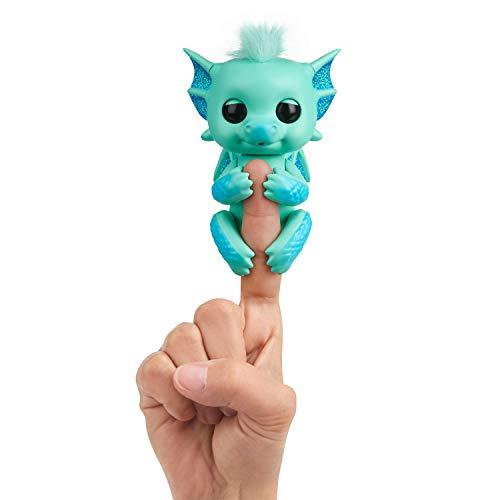 WowWee Fingerlings Drache grün mit blauem Glitzer Noa - 3582 / interaktives Spielzeug, reagiert auf Geräusche, Bewegungen und Berührungen