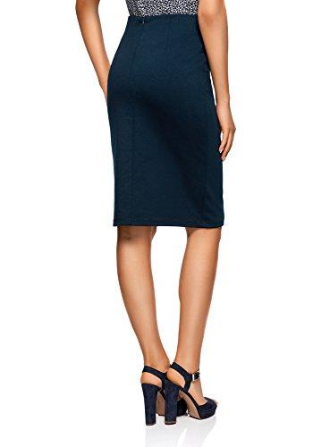 oodji Collection Damen Jersey-Bleistiftrock Blau (7900N)