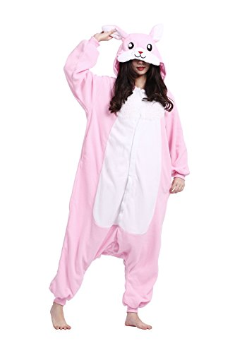 DarkCom Adult One Piece Cartoon Pyjamas Unisex Tier Kostüme Fancy Cosplay Kleid Jumpsuits Rosa Kaninchen Klein