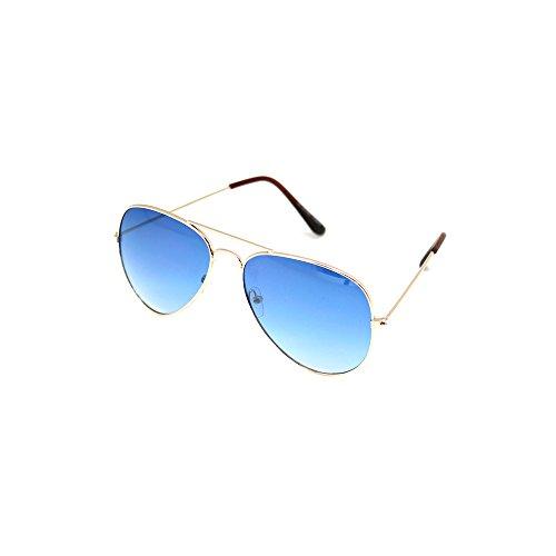 Hochwertige Pilotenbrille Sonnenbrille 70er Jahre Herren & Damen Sunglasses Fliegerbrille verspiegelt (Silver / Light Blue)