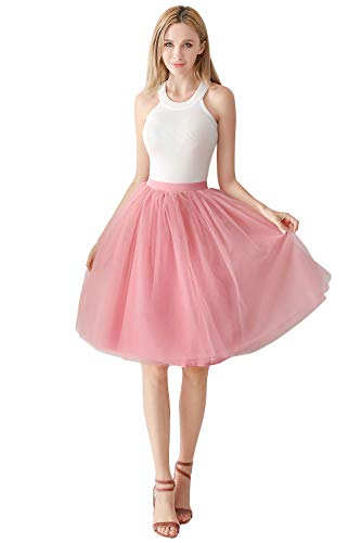 MisShow 1950 Petticoat Tutu Unterrock Underskirt für Rockabilly Kleid Rosa