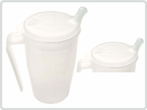 Schnabelbecher mit Deckel und Griff mit kurzem Mundstück für Tee und Brei, Farbe: transparent - Schnabeltasse Trinkbecher Einnehmebecher