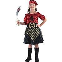 fyasa 706046-t03pirata disfraz de niña, rojo, mediano