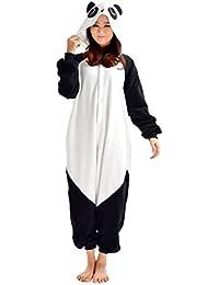 YARBAR Kigurumi Pijamas Unisexo Adulto Traje Disfraz de Halloween Animal Pyjamas blanco de la panda