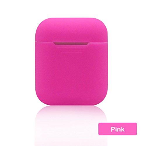 Axusndas, custodia protettiva in silicone multicolore per cuffie Apple Airpods, cuffie wireless e Bluetooth, antismarrimento rosa rosa
