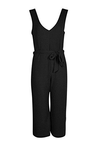 Noir Black Womens Laura Ribbed Culotte Self Belt Jumpsuit - 14 Noir