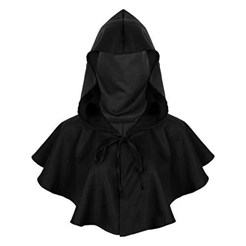 Agoky Unisex Kapuzen Umhang kurz Cape Mantel Gothic Teufel Gruselig Halloween Kostüm Zubehör Schwarz One Size (Schwarzer Teufel Kostüm Zubehör)