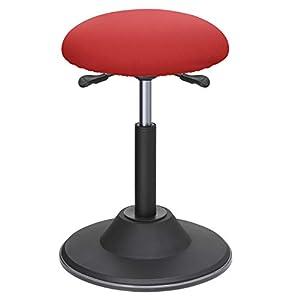 SONGMICS ergonomischer Sitzhocker, Sitzhöhe 50-70 cm, höhenverstellbarer Bürohocker, 360° Drehstuhl, Arbeiten im Stehen, Büro, Arbeitszimmer, rot OSC01RD