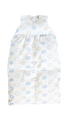 Odenwälder BabyNest Daunen-Schlafsack/Kinderschlafsack/Babyschlafsack waschbar/Winterschlafsack atmungsaktiv/leichter Daunenschlafsack, Größe:80, Design:Wolke bleu