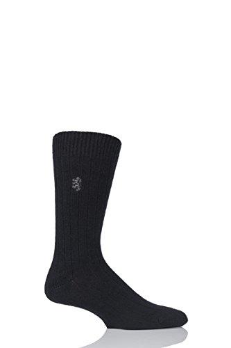 Pringle Cashmere (Pringle of Scotland Herren 1 Paar 80% Cashmere Rippen Socken 6-8.5 Mens Schwarz)