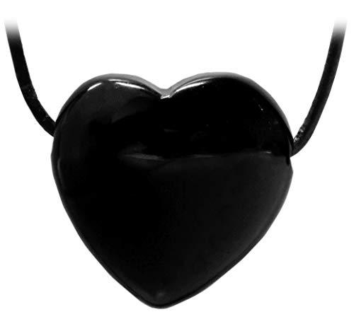 Kaltner Präsente Geschenkidee - Lederkette für Damen und Herren mit Herz Anhänger aus dem Edelstein Onyx Schwarz (Ø 30 mm)