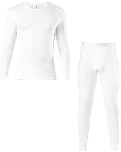 LAPASA Herren Thermounterwäsche Set (Hemd+ Hose), Warm, Weich, Dehnbar, und Luftig, Perfekte Funktionsunterwäsche Herren für Winter (L, Weiß)