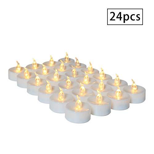 LED Kerzen Teelichter Warmweiß mit Timer 24pcs Flammenlose Batteriebetriebene Flackern Elektrische Kerze Lichter Batterie Dekoration für Weihnachtsbaum Ostern Hochzeit Party