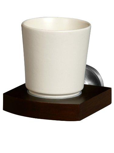 Bisk 00968 Madagaskar Vaso de cerámica y soporte de madera y níquel cepillado (10 x 13 x 10,5 cm)