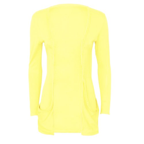 Runway Splash - Cardigan Pour Femme Manches Longues 2 Poches Jaune