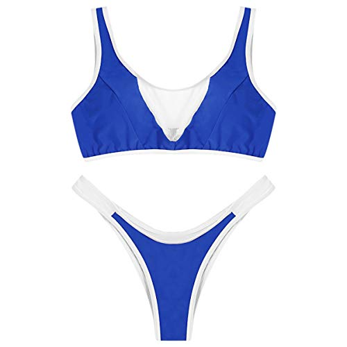 Dawwoti Scoop Neck Sleeveless Mesh-Spliced   Colour Blocking Padded Frauen-Bikini-Set Scoop Neck Sleeveless Rock