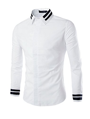sourcingmap Hommes Manches Longues Col Pointu Rayures Chemise Coupe Cintrée blanc-rayures