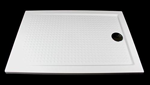 duschwanne flach 80 x 80 Art-of-Baan- Extra flache Duschtasse, Duschwanne aus Acryl, ABS Weiß Hochglanz; 100x80x3,5cm inkl. Ablaufgarnitur