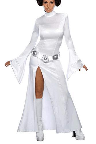 Cosplay Leia Kostüm - Karnestore Star Wars Leia Organa Solo Weißes Kleid Cosplay Kostüm Damen M