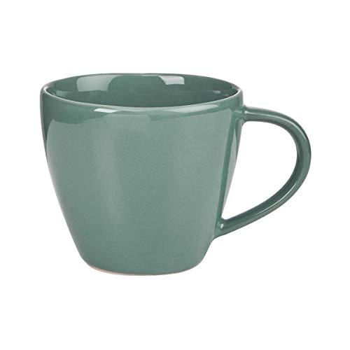 BUTLERS Sphere Tassen-Set 4 x 360ml in Dunkelgrün - Buntes Kaffeetassen-Set aus Steinzeug - Kaffeebecher, Teetassen