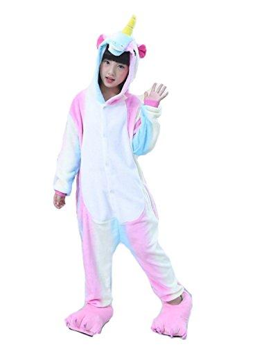Emmarcon pigiama intero animale kigurumi da bambini, chiusura in cerniera sul retro, in materiale flanella, morbidissimo e caldo. unisex-s/6-7years-arcobaleno2