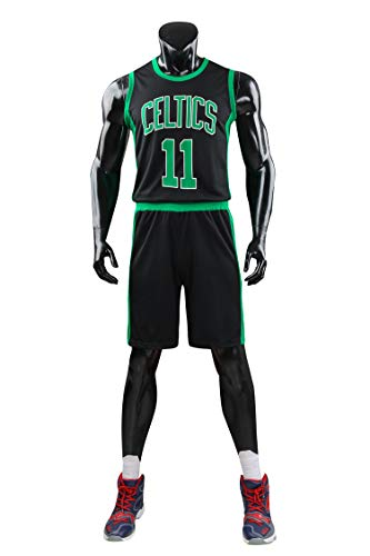 AGAB Herren NBA Kyrie Irving # 11 Boston Celtics Retro Basketball Shorts Sommer Jersey Basketball Uniform Tops und Short One Set-Black-XL