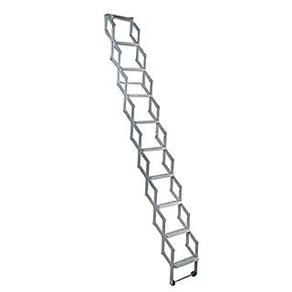 Alufix 10-Tread Concertina Loft Ladders - Ideal for tiny attic spaces | Easy DIY Fit | Aluminium | Floor to Ceiling 2.46m-2.73m (8.1ft-9.0ft)