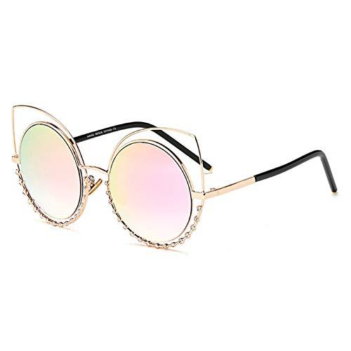 Siwen Neue kristall Dekoration aushöhlen metallrahmen Frauen cat Eye Sonnenbrille Mode Damen Steigung/reflektierende linse gläser,Goldenes Rosa