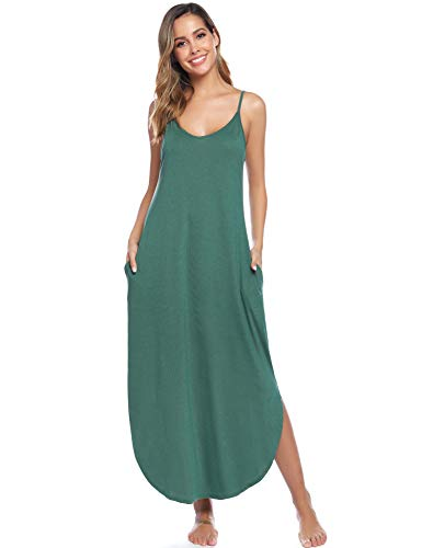 Aibrou Vestidos Mujer Algodón Verano,Vestidos de Playa sin Mangas Fal