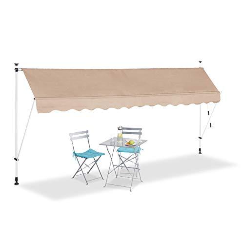 Relaxdays Klemmmarkise, Balkon Sonnenschutz, einziehbar, Fallarm, ohne Bohren, höhenverstellbar, 400 cm breit, beige