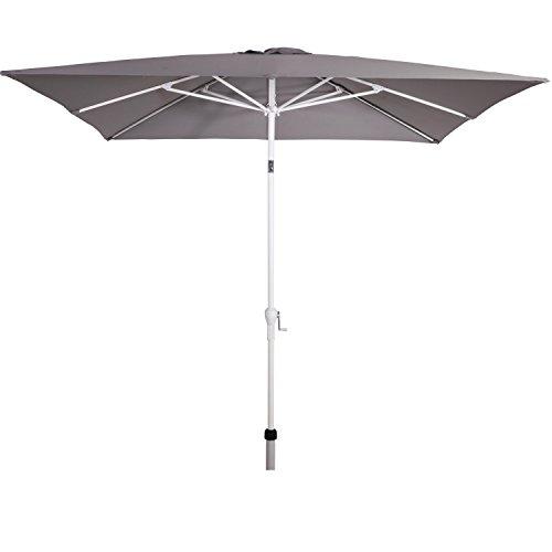 habeig Sonnenschirm #138 Eckig 2,5 x 2,5 Gartenschirm Schirm Kurbel weiß 40+UV Marktschirm...