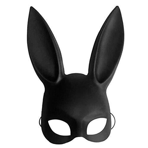 (Pynxn - Schwarz-Frauen-Mädchen Sexy Kaninchen-Ohr-Maske Cute Bunny Lange Ohren Bondage Masken-Halloween-Maskerade-Partei Cosplay Props [Schwarz])