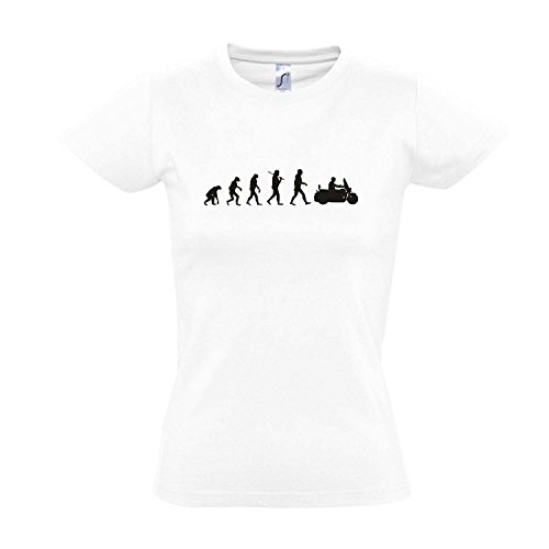 Damen T-Shirt - EVOLUTION - Motorrad Cruiser FUN KULT SHIRT S-XXL , White - schwarz , L (Cruiser Damen Motorrad)