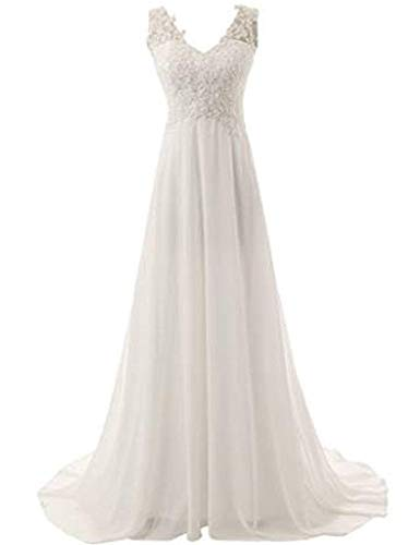 Damen Einfach Traeger Spitzen Chiffon Brautkleid Hochzeitskleid Brautmode Schwangeren Kleid Abendkleider Brautjungfernkleid Ball Kleid (Color : Ivory, Size : L)